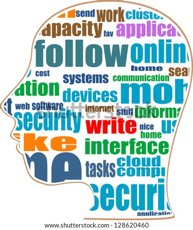 silhouette of head with the words on the topic of social networking, raster - stock photo
