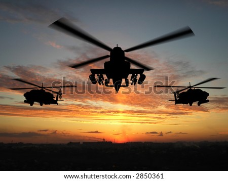 Silhouette of helicopter over sunset - stock photo