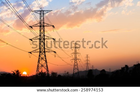silhouette of high voltage electrical pole structure