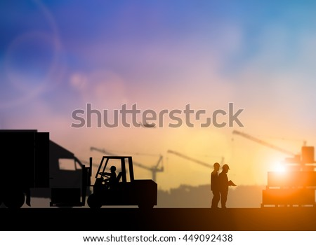 Silhouette of high voltage equipment engineer check before boarding a shuttle to dock to construction site over blurred pastel background sunset  shipping. Heavy industry and Transportation concept. - stock photo