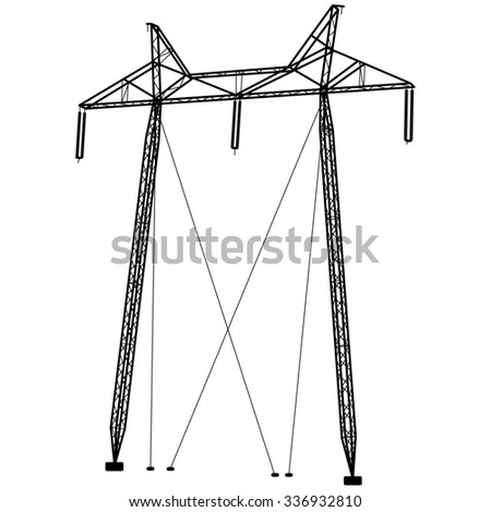 Silhouette of high voltage power lines. illustration.