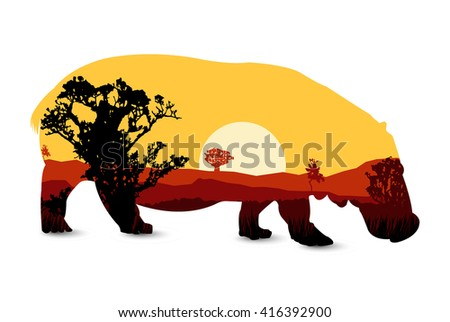 Silhouette of hippo with african landscape. Sunset. - stock photo