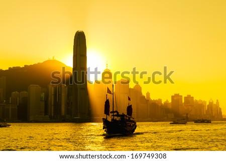 Silhouette of Hong Kong city - stock photo