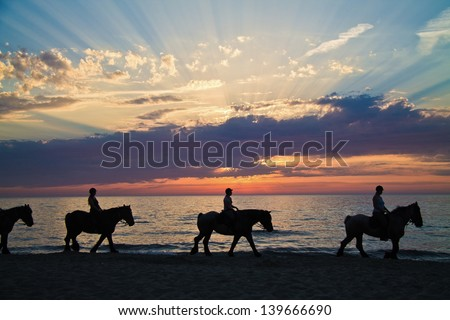 Silhouette of horse riders against the ocean and a sunset - stock photo