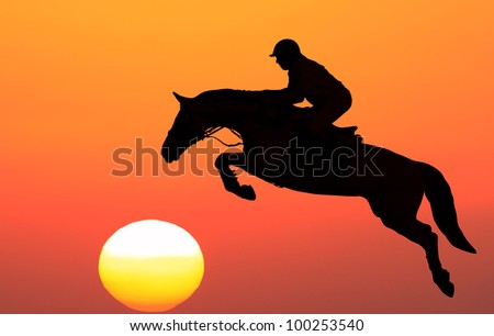 Silhouette of horse with equestrian on the sunset background - stock photo