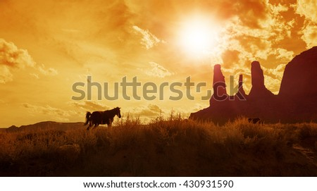 silhouette of horses grazing in monument valley  - stock photo