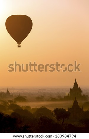Silhouette of Hot Air Balloons over the temples of Bagan - Myanmar