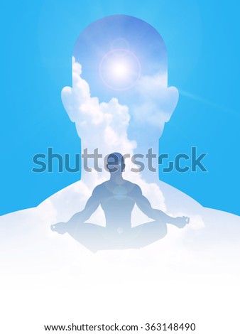 Silhouette of human figure among clouds, peaceful, serenity, tranquility, enlightenment concept - stock photo