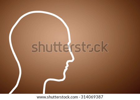 Silhouette of human head on color background
