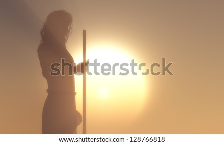 Silhouette of Jesus in the sunlight - stock photo