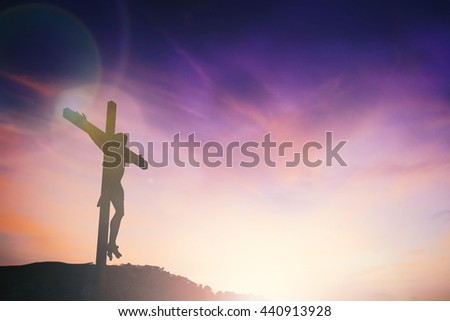 Silhouette of Jesus with Cross over sunset concept for religion, worship, Christmas, Easter, Redeemer Thanksgiving prayer and praise. revelation son happy world 2017 - stock photo