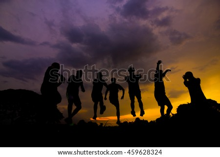 silhouette of  jump in sunset