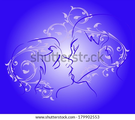 Silhouette of kissing couple on a background of vintage pattern. Illustration