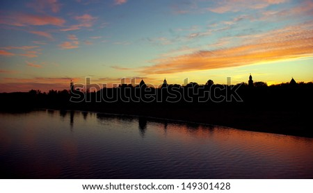 Silhouette of Kremlin in the city of Novgorod the Great on sunset