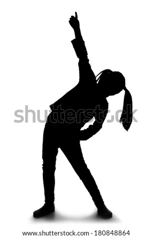 Silhouette of little girl dancing