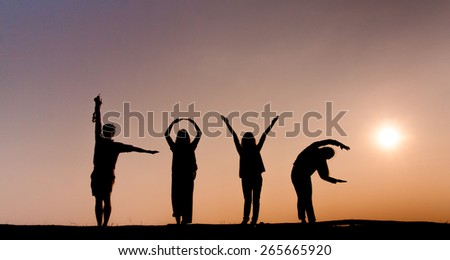silhouette of love by four people body action. - stock photo