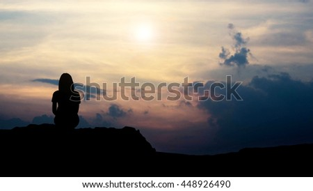 silhouette of love guy and girl against sunset