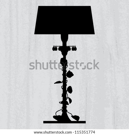 silhouette of luxury lamp on a scratched grey wallpaper/ template design of invitation with chandelier - stock photo
