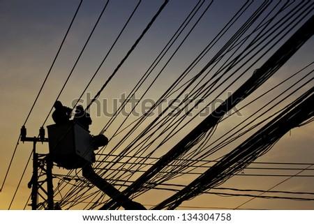 silhouette of maintenance service - stock photo