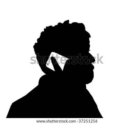 Silhouette of man at the phone, black over white