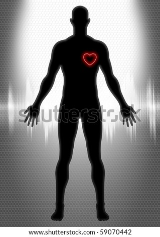 Silhouette of man figure with heart symbol - stock photo