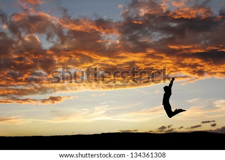 silhouette of man jumping in sunset for fun - stock photo