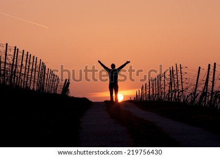 silhouette of man standing in sunset with arms in air
