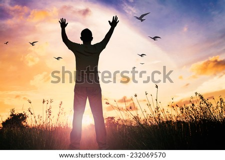Silhouette of man with hands raised to beautiful meadow and colorful sky over sunset background. - stock photo