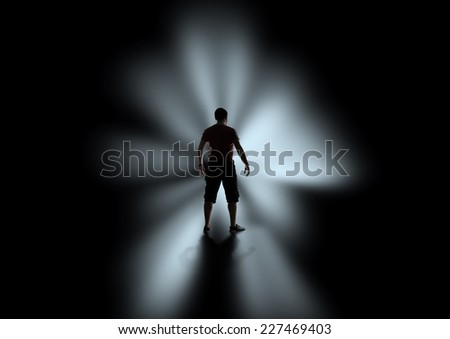 Silhouette of men in the darkness
