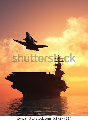 Silhouette of military aircraft and spacecraft. ,3d render