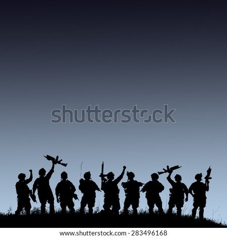 Silhouette of military soldiers team or officer with weapons at blue colorful background - stock photo