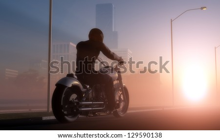 Silhouette of motorcyclist in sunlight. - stock photo