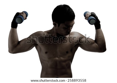 silhouette of Muscular men exercise with dumbbells,isolated on white with clipping path