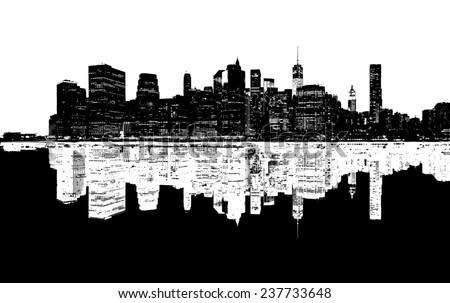 Silhouette of New York skyline. - stock photo