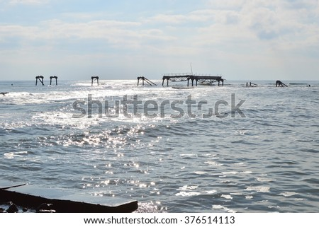 Silhouette of old destroyed and abandoned oil platform near Cape Shabla, Black Sea, Bulgaria