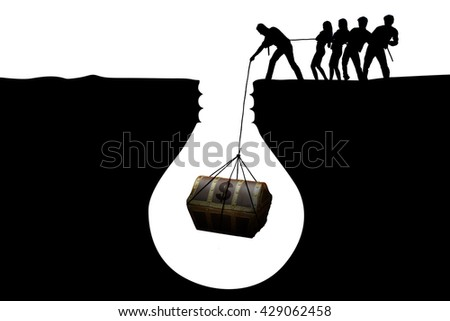 Silhouette of optimistic businesspeople finding a treasure chest in the soil, isolated on white background
