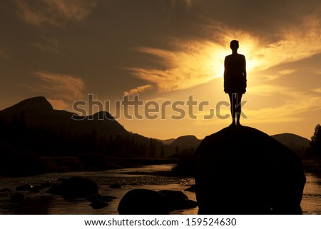 Silhouette of Outdoor Yoga, Young Woman in Standing Pose - stock photo