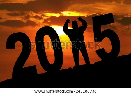 Silhouette of overweight businessman celebrate his success, forming number 2015 at sunset time - stock photo