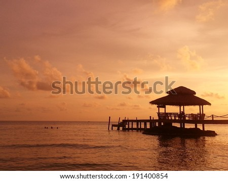 Silhouette of pavilion during sunset