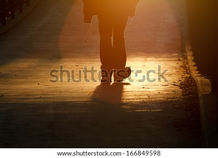 silhouette of pedestrians on bridge in freiburg  - stock photo