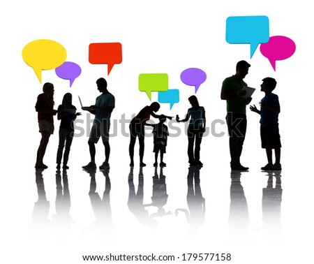 Silhouette of People Discussing with Colorful Speech Bubbles