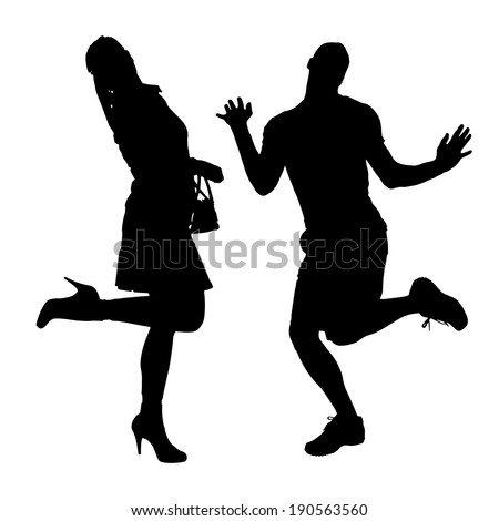 Silhouette of people who dance on a white background.