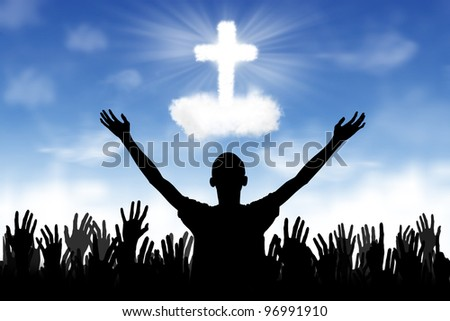 Silhouette of people worshiping to the God - stock photo