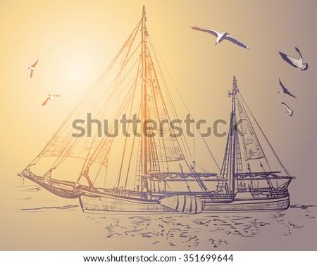 Silhouette of pirate ship in ocean. Raster version  - stock photo