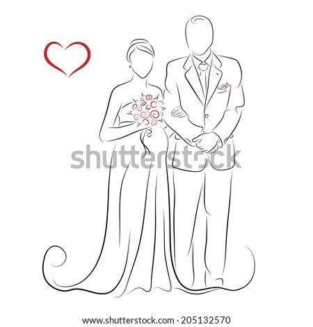 Silhouette of pregnant bride and her groom for greeting card or wedding invitation