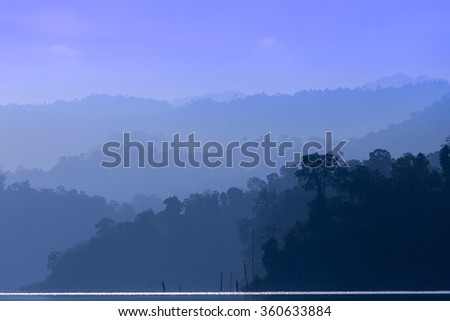 Silhouette of rainforest in Royal Belum, Malaysia.