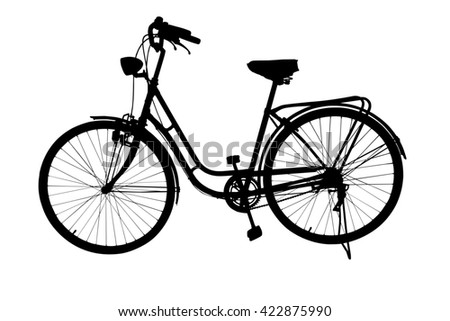 Silhouette of Retro styled bicycle isolated on a white background