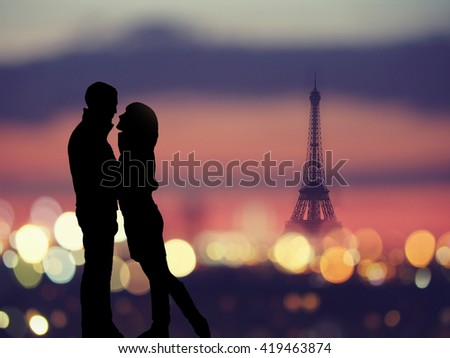 silhouette of romantic lovers with eiffel tower on a background in Paris , France