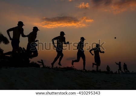 silhouette of running at sunset time