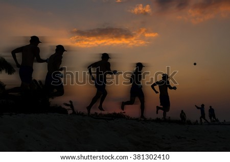 silhouette of running at sunset time with moving blur technic, movement concept